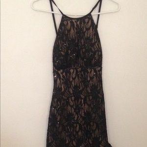 NWT Long Black Lace Dress with Attached Train